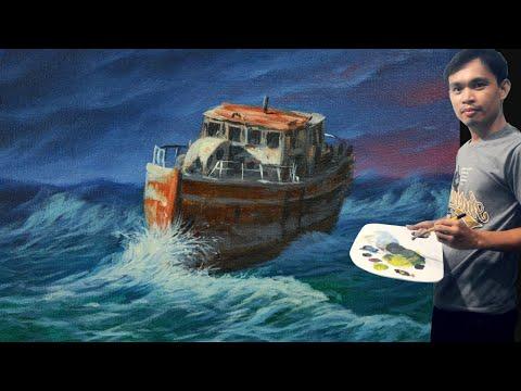 Acrylic Seascape Painting Tutorial Old Fishing Boat on Huge Waves by JM Lisondra