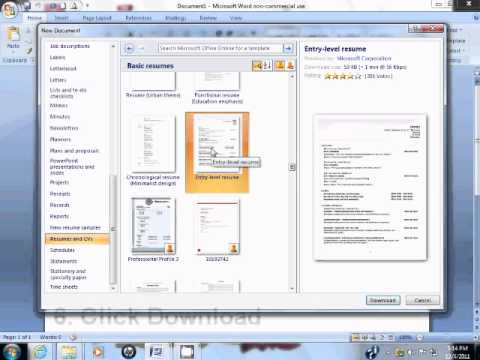 How to Use Resume Template in Microsoft Word 2007