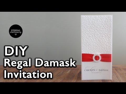 DIY Elegant Damask Embossed Wedding Invitation | DIY Wedding Invitations