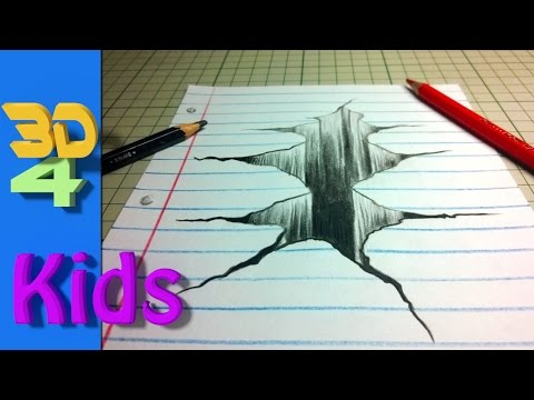 easy 3d drawing draw CRACK in paper - For Kids and beginners