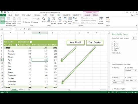 Using Macros and Pivot Tables in Excel 2013