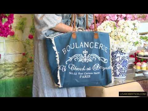 Denim and Fringe Boulangerie Tote Bag