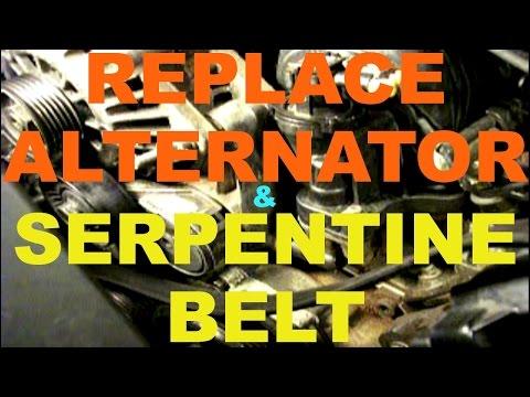 car ALTERNATOR REPLACEMENT - change SERPENTINE BELT + belt installation diagram GM 3800  V6 3.8 L