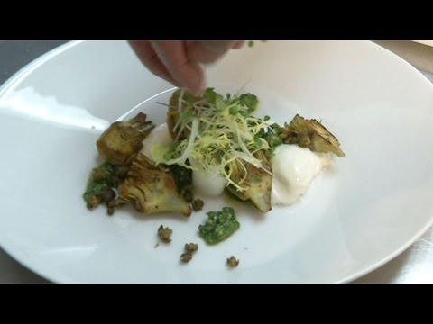 Lemon roasted artichokes with buratta cheese and walnut pesto
