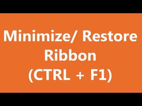 Excel Shortcuts - Minimize and Restore Ribbon