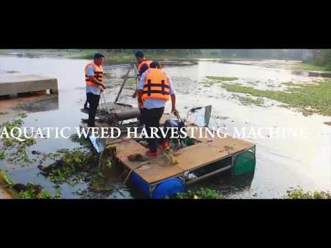 Aquatic weed harvesting machine.... Mechanical engineering project. Water weed harvester. Weed