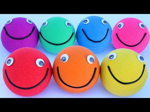 Learn Colors Kinetic Sand Smilling Face Play Doh Hammer Modelling Clay