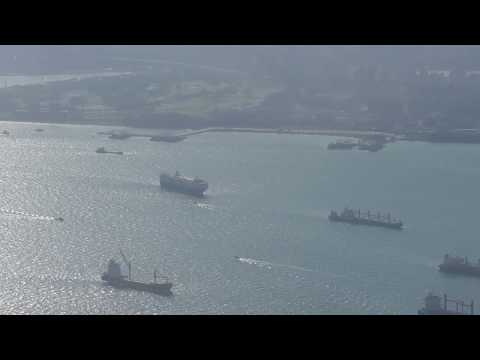 Singapore and the main landmarks of the City State from a plane