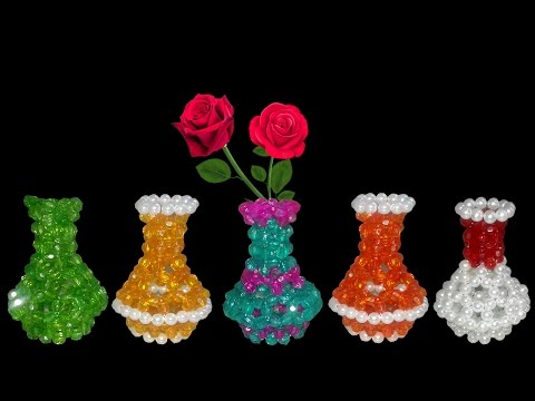 DIY Flower Vase : How To Make Beaded Flower Vase || Diy Beaded Craft Ideas