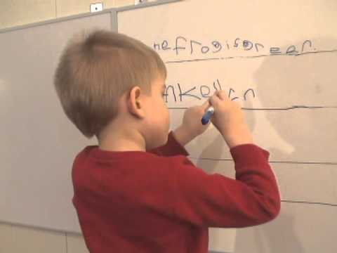 3-year-old Toby writing sentences