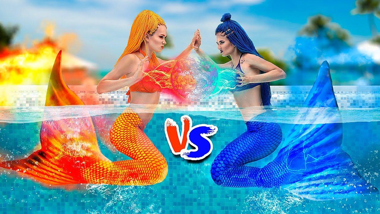 Hot vs Cold Challenge / Mermaid on Fire vs Icy Mermaid