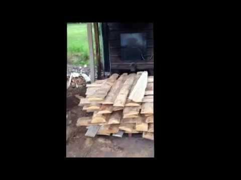 Wood fired furnace heats lumber drying kilns.