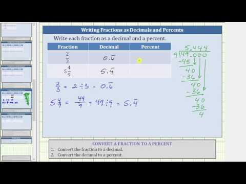 Convert a Fractions to Decimals and Decimals to Percents (2/3, 5 4/9)