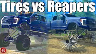 TIRES vs REAPER WHEELS IN MUD PIT!! SpinTires MudRunner