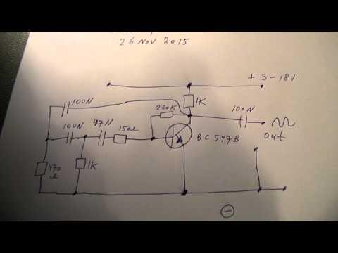 sine wave RC oscillator 500 Hz etc with 1 transistor schematic