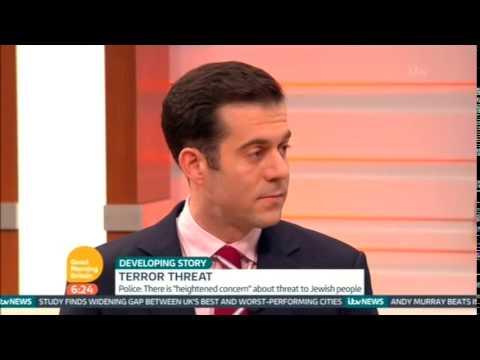 Jonathan Sacerdoti on Good Morning Britain, ITV, discussing antisemitism.