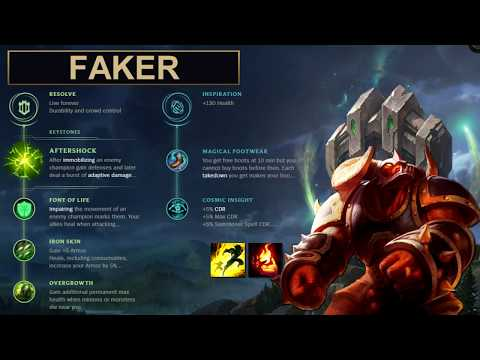 SKT Faker Build Alistar - New Runes Season 8 (League of Legends Guide)