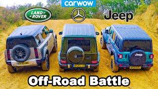 Defender v Mercedes G350 v Wrangler - Up-hill DRAG RACE & Off-road BATTLE!