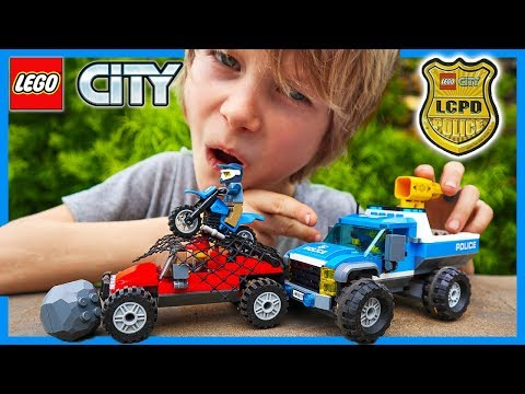Lego Mountain Police Dirt Road Pursuit With Trucks and Net Cannon!