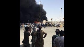 شاهد الفيديو الكامل لحريق ضخم بمنفذ البطحاء رابع أيام رمضان