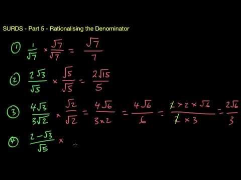 Surds/Radicals 5 - Rationalising the Denominator
