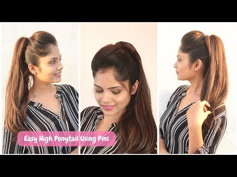 2 minute High Ponytail  using pins only(No rubber-band)   Easy Hairstyle for school/collage/work