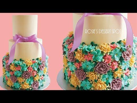 Loaded Floral Spring Wedding Cake- Rosie's Dessert Spot