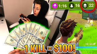 Giving My Little Brother $100 For Every Kill in Fortnite: Battle Royale | David Vlas