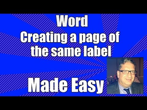 word making mailing labels whole page same label - Word 2007 2010 2013 2016 tutorial for beginners