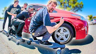 Download HOW MANY ELECTRIC SKATEBOARDS DOES IT TAKE TO PUSH A CAR?!? Video