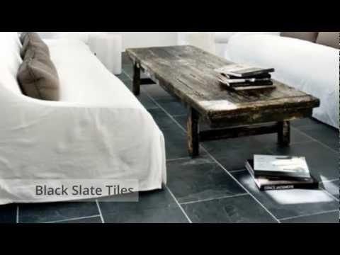 Black Riven Slate Tiles - Nustone Natural Stone Flooring 60x60, 60x30 Wall Tiling
