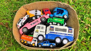 Reviewing Box filled toy vehicles - Police Van, Ambulance, Construction Truck and Many more toys