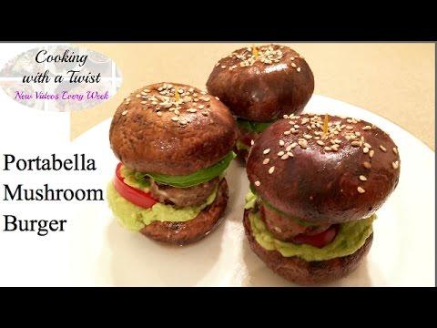 Bunless Portabella Mushroom Burger Recipe - Mushroom Bun Burger - How to make Portobello Burger