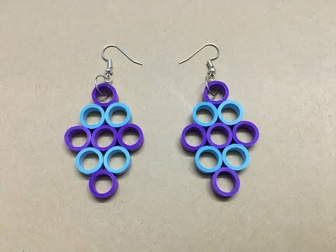 How to make paper quilled earrings at home // easy paper jewellery