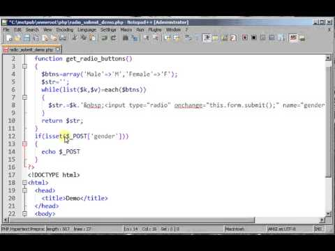 Radio button list in HTML using PHP and Submit Onchange Event