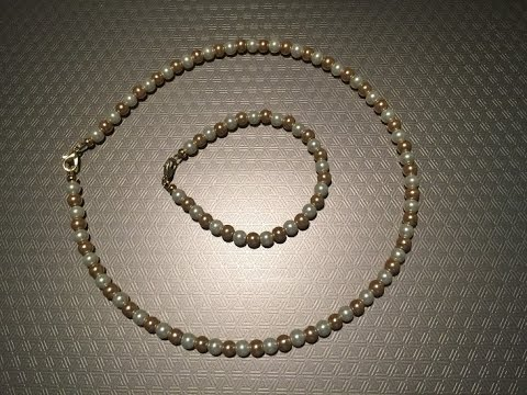 How To Make A Simple, Easy & Affordable Two-Color Pearl Necklace & Bracelet