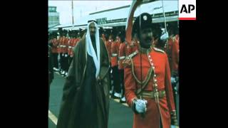 SYND 22 3 76 KING KHALID OF SAUDI ARABIA ARRIVING TO OFFICIAL VISIT TO KUWAIT
