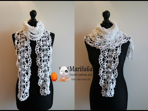 How to crochet white lace scarf free pattern tutorial