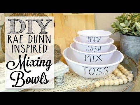 DIY Rae Dunn Inspired Mixing Bowls | Dollar Tree Craft