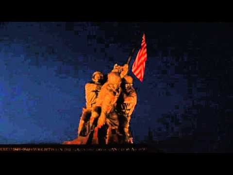 Iwo Jima Memorial at Night American Flag Flying from Marine Corps War Statue at Arlington Cemetery
