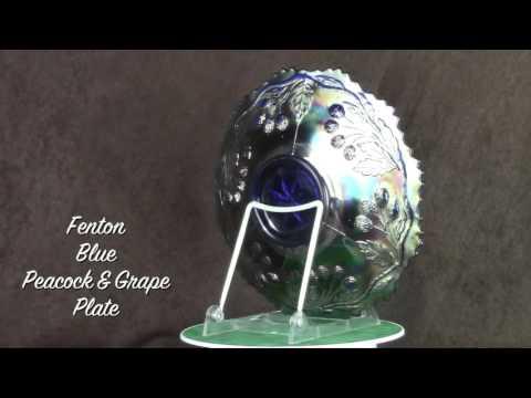 Fenton Blue Peacock & Grape Plate