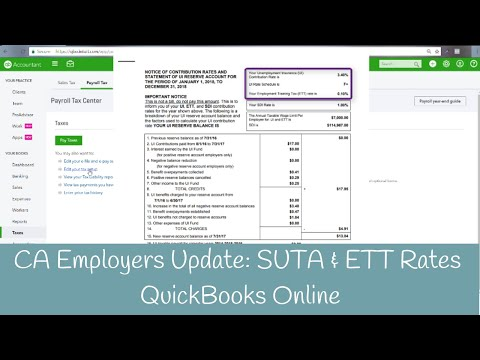 How to update SUTA and ETT Rates for California / EDD in QBO