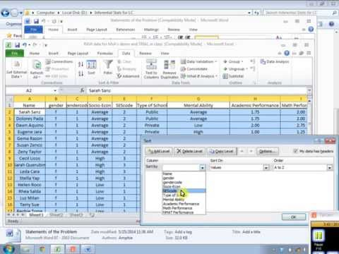 Frequency and percentage with SPSS
