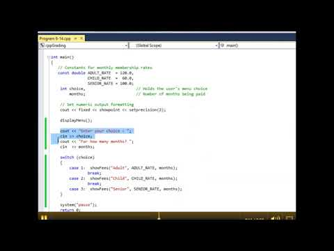Menu Driven Program with Functions - Revised