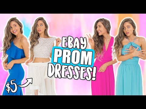 TRYING ON EBAY PROM DRESSES UNDER $15?! Cheap Dresses I Bought Online! ( eBay + Amazon )