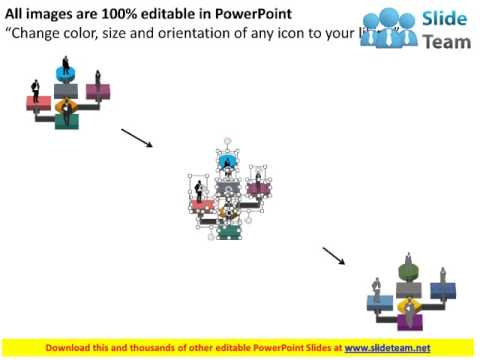 flow chart with business peoples flat powerpoint design