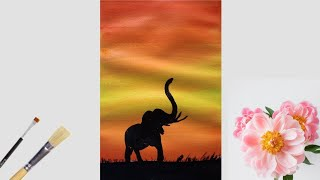 easy acrylic painting sunset scenery painting drawing how to p
