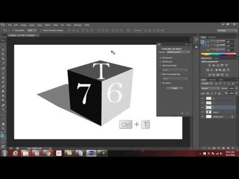 Photoshop CS6 Tutorial : How to Create Simple 3D Cube Text Using 3D Effects