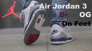 designer fashion 3e851 d1a6c Air Jordan 3 True Blue OG 2016 On Feet