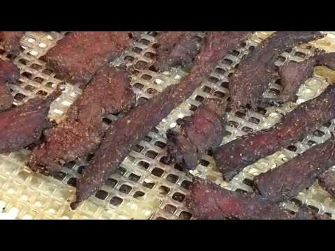 Beef Jerky cured then smoked and dried in the Big Chief Electric Smokehouse